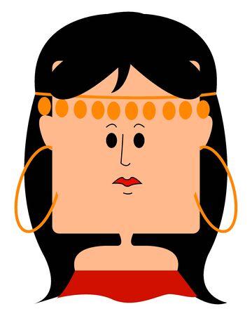 Gypsy girl in red dress, illustration, vector on white background. Standard-Bild - 132864992