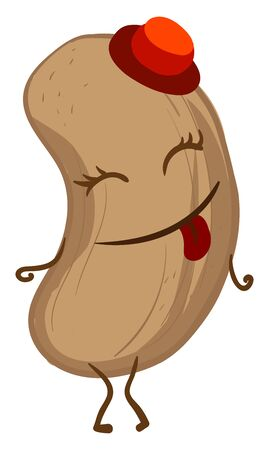 Happy peanut with red hat, illustration, vector on white background