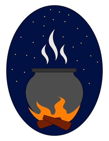Fire pot in night, illustration, vector on white background.