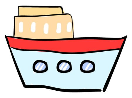 Blue ship, illustration, vector on white background. Banque d'images - 132865009