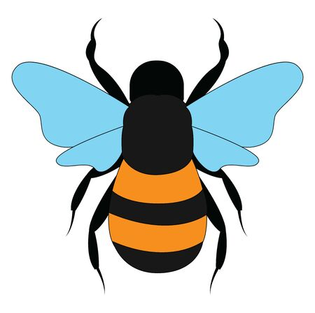 Big wild bee, illustration, vector on white background. Ilustração