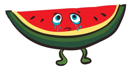 A cartoon of a sliced red water melon crying with pouring tears, vector, color drawing or illustration.