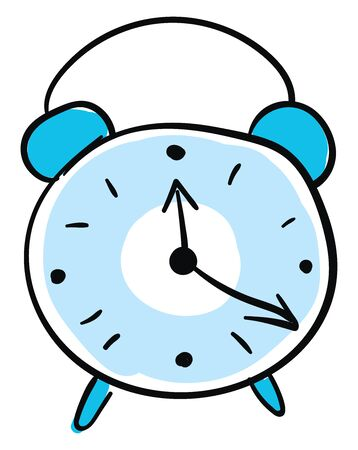 Blue alarm clock, illustration, vector on white background.