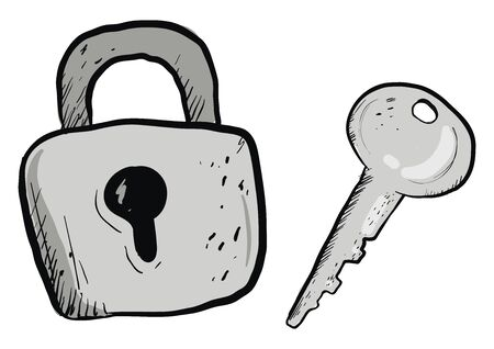 Grey lock and key, illustration, vector on white background.