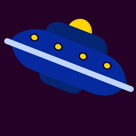 Big blue spaceship, illustration, vector on white background.  イラスト・ベクター素材