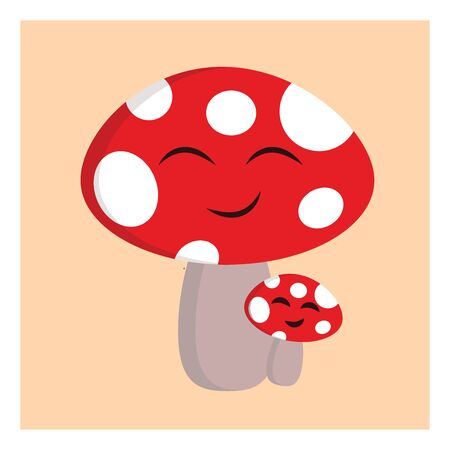 A red mushroom with a white spots, cartoon, vector, color drawing or illustration.