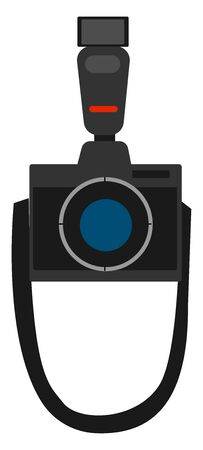 Black photo camera, illustration, vector on white background.