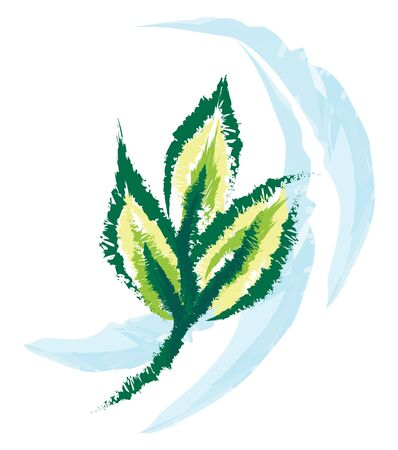 A beautiful color drawing of a wind and leaves, vector, color drawing or illustration. Çizim