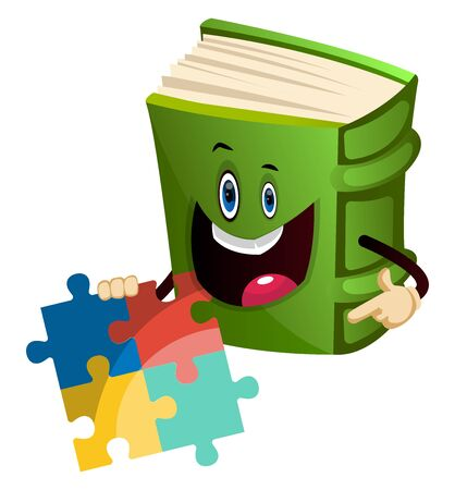 Cartoon book character is holding puzzle, illustration, vector on white background.