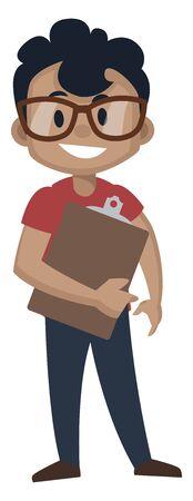 Boy is observing, illustration, vector on white background. Ilustração