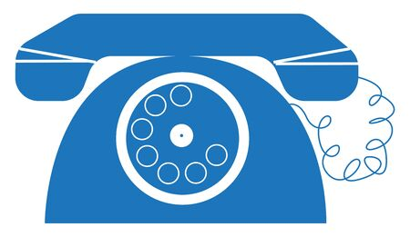 An old telephone in blue color, vector, color drawing or illustration.