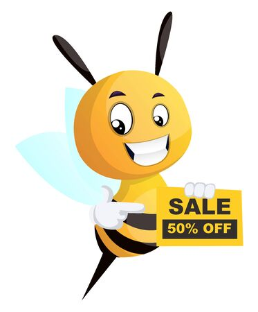 Bee showing discount, illustration, vector on white background.