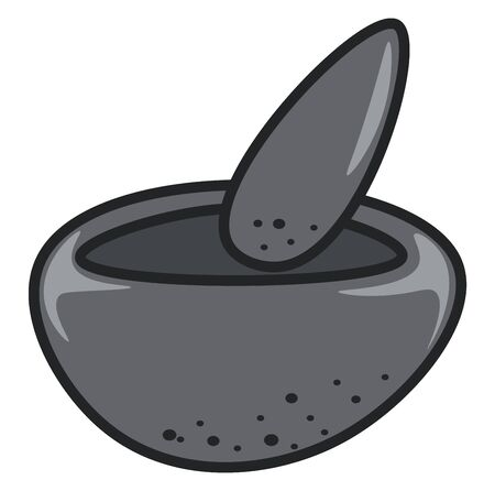 A small cute grinder in stone, vector, color drawing or illustration.
