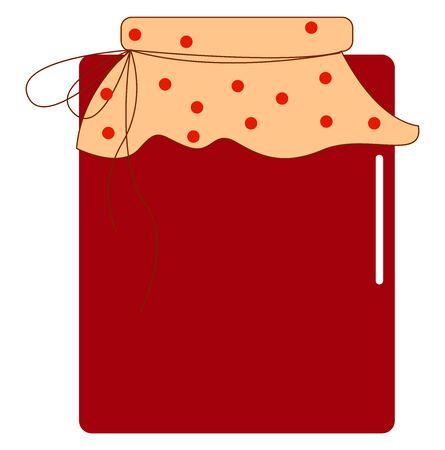 Jar of cherry jam, illustration, vector on white background.