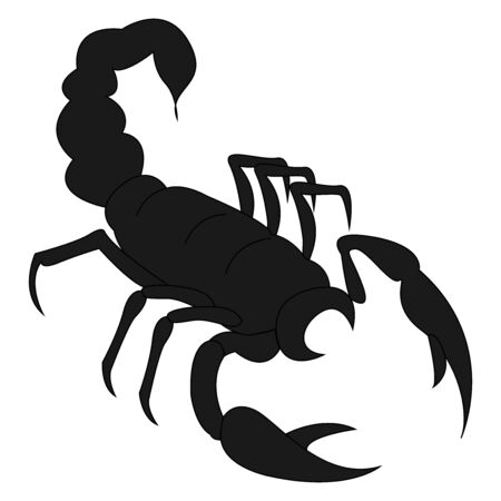Black scorpion, illustration, vector on white background.