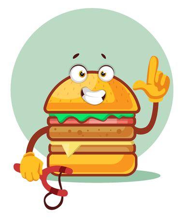 Burger is holding a sling, illustration, vector on white background. Illustration