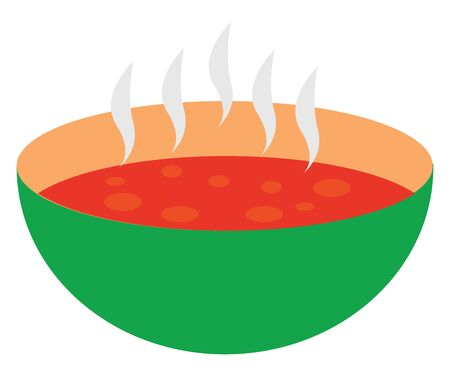 Red soup in bowl, illustration, vector on white background.