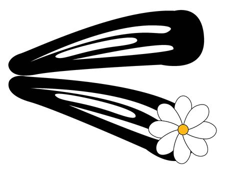 Hairpin with flower, illustration, vector on white background.