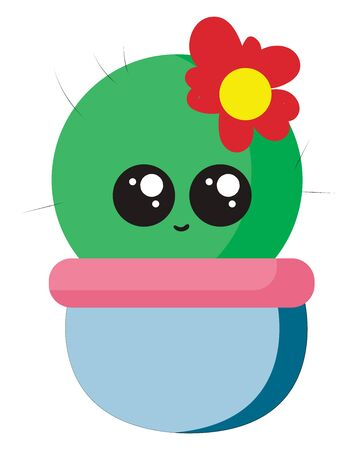 Cute little cactus with flower, illustration, vector on white background. Иллюстрация