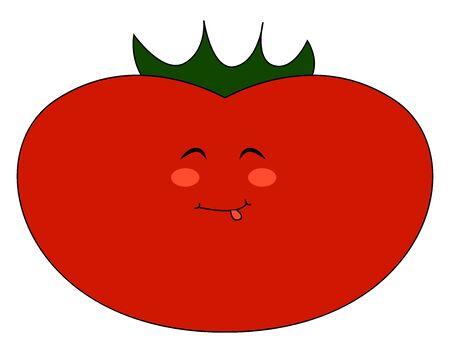 Fat tomato, illustration, vector on white background Illustration
