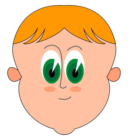 Cute blond boy with big green eyes, illustration, vector on white background.