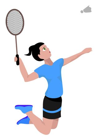 Jumping badminton player, illustration, vector on white background.