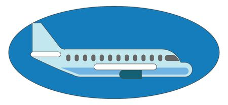 Airplane in blue sphere, illustration, vector on white background.