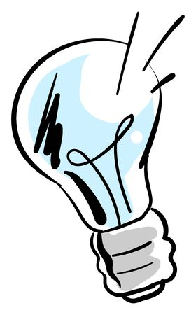 Blue bulb drawing, illustration, vector on white background.