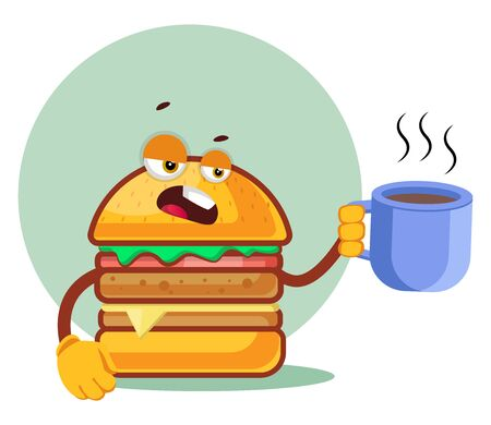 Burger is holding a coffee mug, illustration, vector on white background. Archivio Fotografico - 132791738