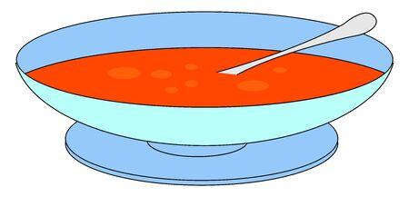 Bowl of tomato soup, illustration, vector on white background. Standard-Bild - 132777769