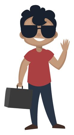 Boy is wearing sunglasses, illustration, vector on white background. Ilustração
