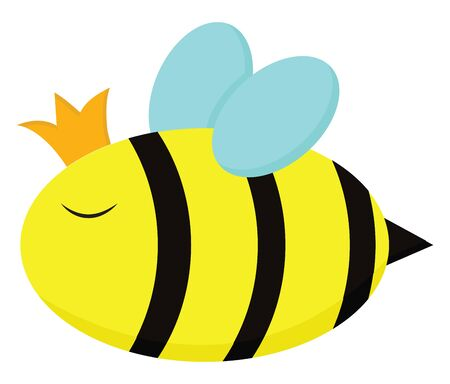 A cute big fat queen bee with a crown, vector, color drawing or illustration.