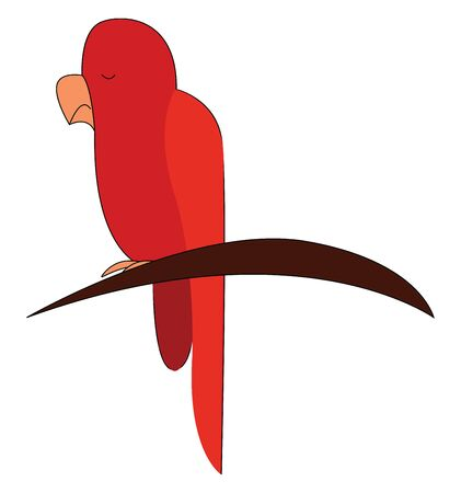A red parrot sitting on a tree branch, vector, color drawing or illustration. Stock Illustratie