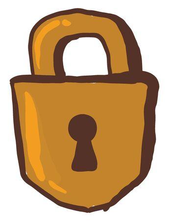 Golden lock, illustration, vector on white background.