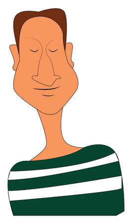 A man in a green and white stripes shirt with eyes closed and a brown hair, vector, color drawing or illustration.