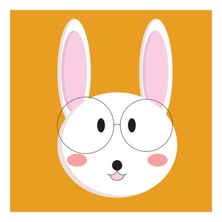 Face of a small rabbit wearing glasses, vector, color drawing or illustration.