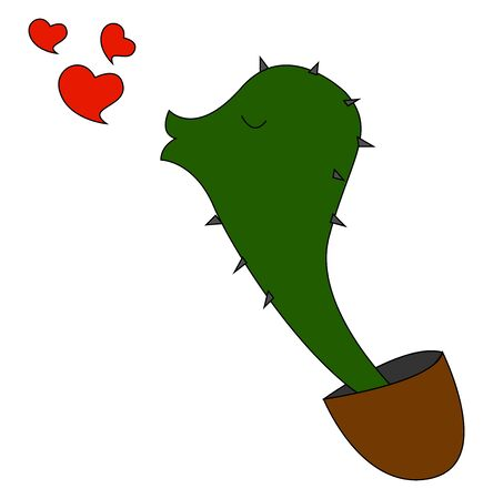 Cactus in love, illustration, vector on white background.