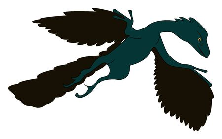 Flying archaeopteryx, illustration, vector on white background.