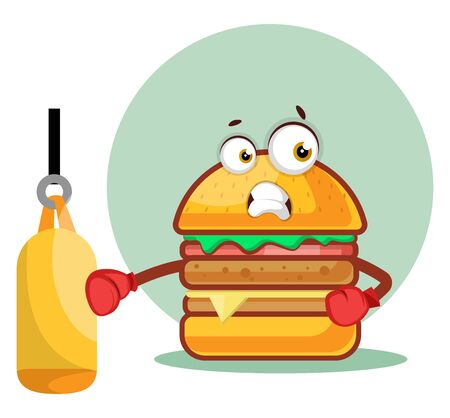 Boxer burger wears boxing gloves, illustration, vector on white background. Archivio Fotografico - 132866579