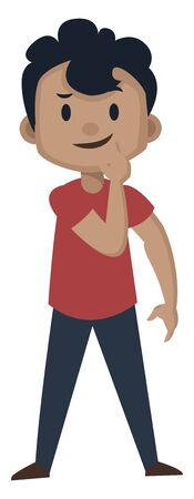 Boy is feeling thoughtful, illustration, vector on white background. Illustration