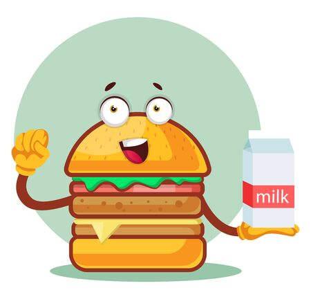 Burger is holding a milk, illustration, vector on white background. Archivio Fotografico - 132866586