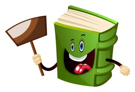 Cartoon book character is holding transparent sign, illustration, vector on white background.