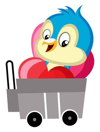 Blue bird sitting in the trailer, illustration, vector on white background. Vettoriali