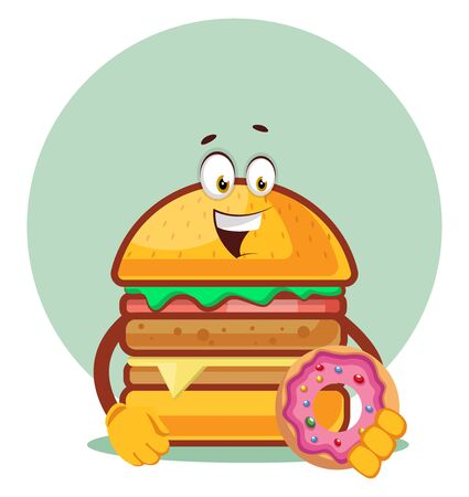 Burger is holding a doughnut, illustration, vector on white background. Archivio Fotografico - 132793417