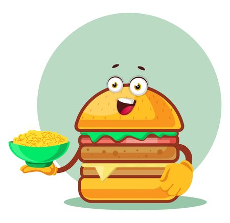 Burger holds a pasta plate, illustration, vector on white background. Archivio Fotografico - 132793426