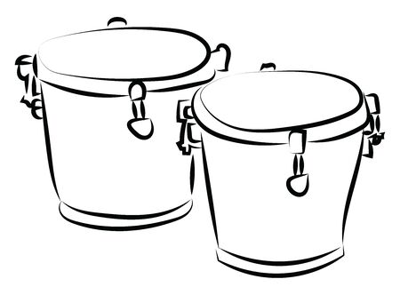 Bongo drums sketch, illustration, vector on white background.  イラスト・ベクター素材