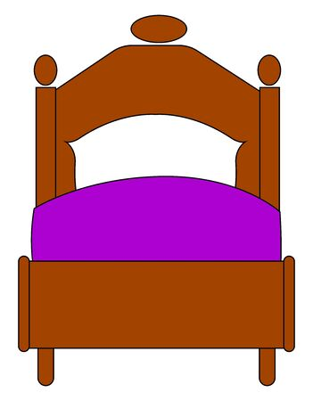 Antique bed, illustration, vector on white background.