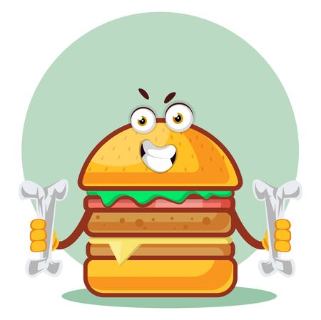 Burger is holding two bones, illustration, vector on white background. Archivio Fotografico - 132793433