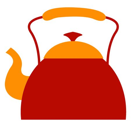 Red kettle, illustration, vector on white background