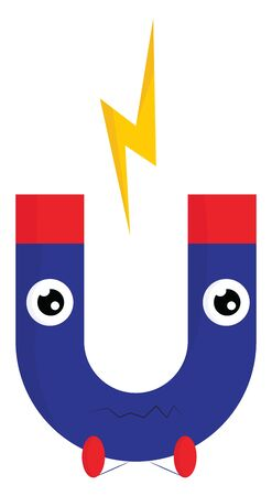A cartoon of a blue magnet with a yellow lightning bolt, vector, color drawing or illustration. 向量圖像